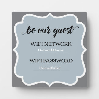 Placa casera cuadrada gris de la huésped de Wifi Placa Expositora