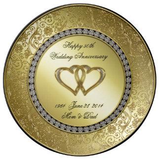 Placa clásica de la porcelana del aniversario de plato de porcelana
