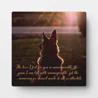 Placa conmemorativa del mascota hermoso del pastor