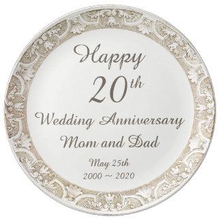 Placa conmemorativa feliz del aniversario de boda plato de cerámica