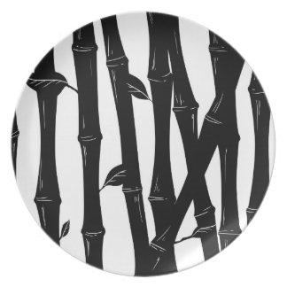 Placa de bambú, negro - colección de la moda de la platos de comidas
