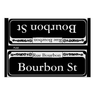 Placa de calle de Borbón, plantilla del doblez Póster