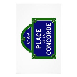Placa de calle de la plaza de la Concordia, París Papelería