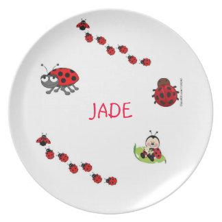Placa de cena de la mariquita platos