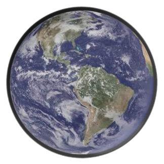 Placa de cena de la tierra del planeta platos de comidas