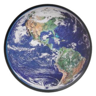 Placa de cena de la tierra del planeta platos para fiestas
