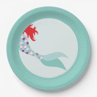 Placa de cena de papel de la sirena plato de papel