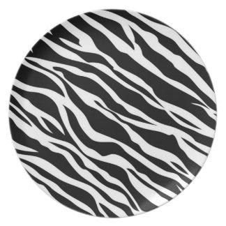 Placa de cena del estampado de zebra platos para fiestas