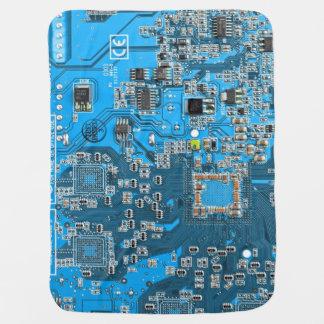 Placa de circuito del friki del ordenador - azul mantita para bebé