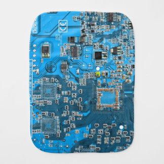 Placa de circuito del friki del ordenador - azul paños para bebé