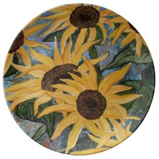 Placa de colectores del arte del girasol plato de porcelana