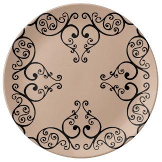 Placa de corazones platos de cerámica