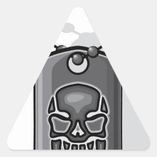 Placa de identificación del cráneo de la guerra pegatina triangular