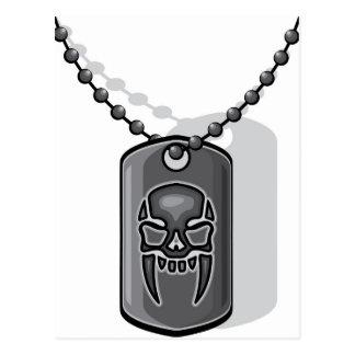 Placa de identificación del cráneo de la guerra postal