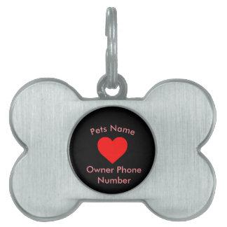 Placa de identificación personalizada corazón