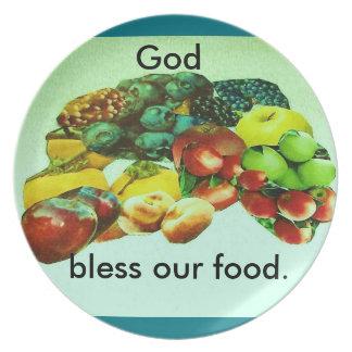 """""""Placa de la bendición de la fruta """" Plato De Comida"""