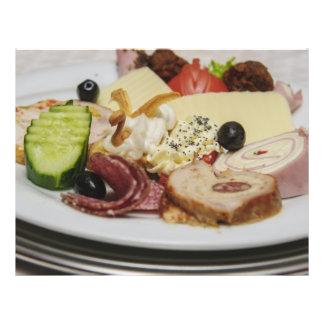 Placa de la comida tarjeta publicitaria