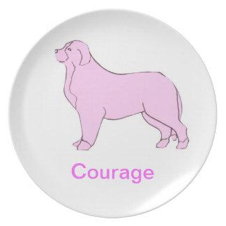 Placa de la conciencia del cáncer del perro de mon platos para fiestas
