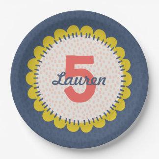 Placa de la fiesta de cumpleaños del girasol de la plato de papel