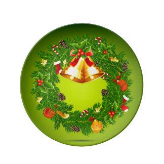 Placa de la guirnalda del navidad platos de cerámica