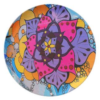 Placa de la mandala de la flor plato
