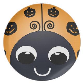 Placa de la mariquita de Halloween Plato Para Fiesta
