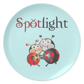 Placa de la mariquita del proyector platos para fiestas