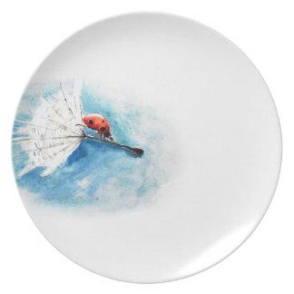 Placa de la mariquita platos de comidas