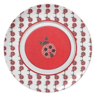 Placa de la mariquita platos para fiestas
