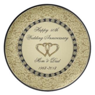 Placa de la melamina del aniversario de boda de plato de comida