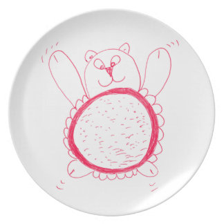 Placa de la melamina del oso del girasol plato