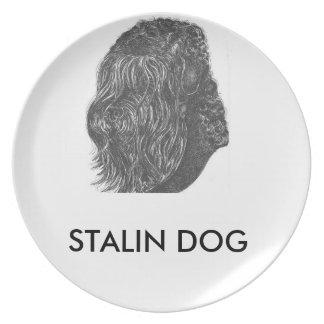 placa de la melamina del perro de stalin plato