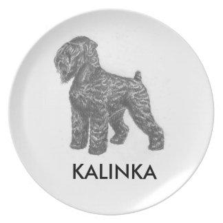 placa de la melamina del perro de stalin plato de cena