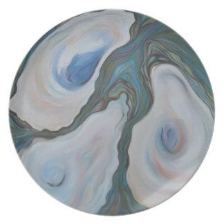 Placa de la melamina del trío de la ostra plato