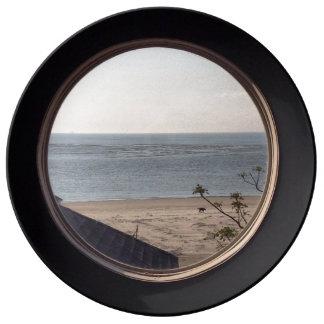 Placa de la opinión de la playa plato de cerámica
