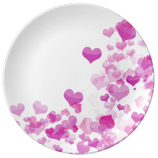Placa de la porcelana con los corazones rosados plato de porcelana