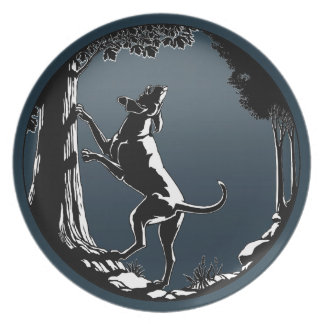 Placa de la porción del arte del perro de caza de platos
