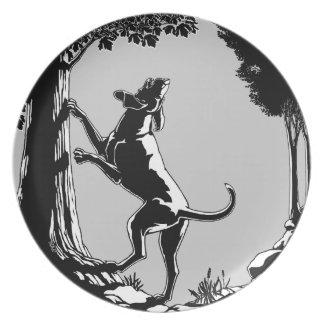 Placa de la porción del arte del perro de caza de  plato para fiesta