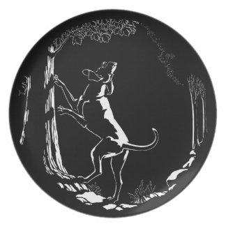 Placa de la porción del arte del perro de caza de  platos para fiestas