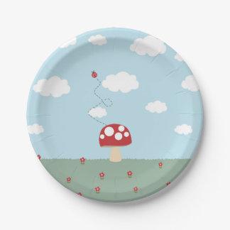 Placa de la seta plato de papel