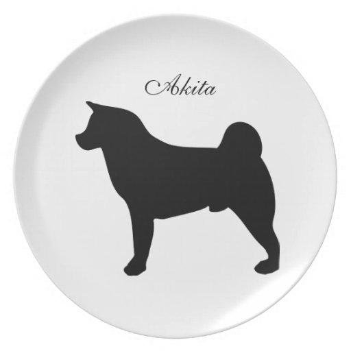 Placa de la silueta del negro del perro de Akita Plato De Comida