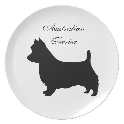 Placa de la silueta del negro del perro de Terrier Platos De Comidas