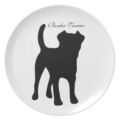 Placa de la silueta del negro del perro de Terrier Plato De Comida