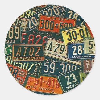 Placa de las placas del viaje de los viajes por pegatina redonda