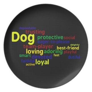 Placa de los amantes del perro platos de comidas