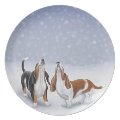 Placa de los perros de afloramiento del invierno d plato de cena