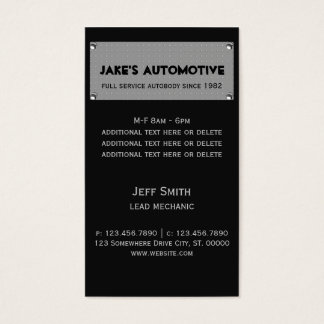 Placa de metal tarjeta de negocios