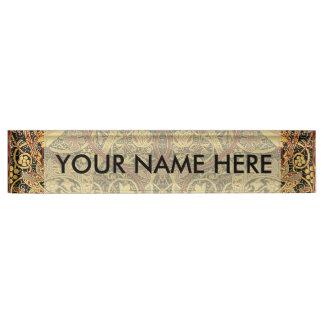 Placa De Nombre Arte floral de la tapicería de William Morris