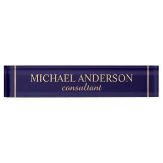 Placa De Nombre Azules marinos y oro elegantes profesionales