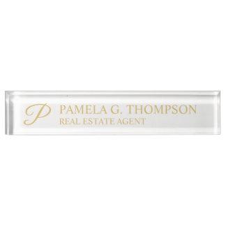 Placa De Nombre Blanco elegante profesional y oro
